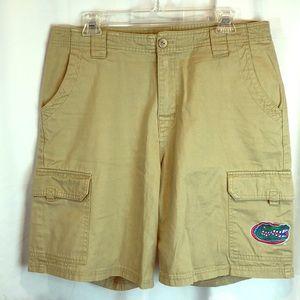 Men's NCAA Florida Gator Logo Khaki Cargo Shorts